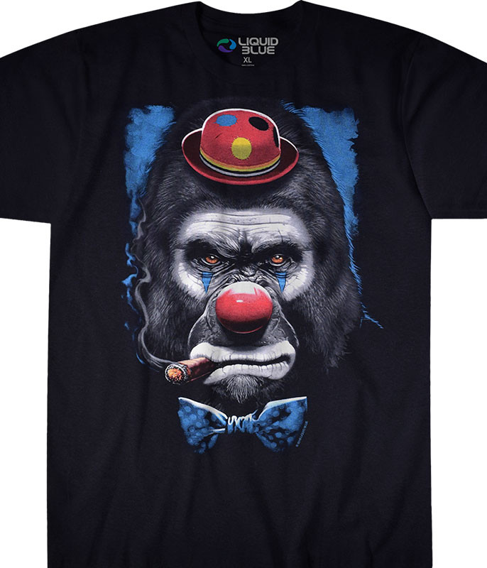 Dark Fantasy Gorilla Clown Black T-Shirt Tee Liquid Blue