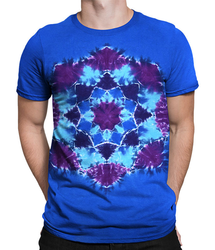 Blue Mandala Unprinted Tie-Dye T-Shirt Tee Liquid Blue