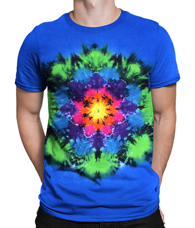 Rainbow Mandala Unprinted Tie-Dye T-Shirt Tee Liquid Blue