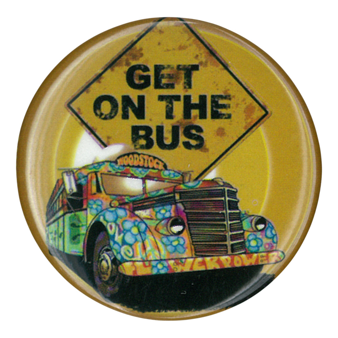Woodstock Get On the Bus Pin