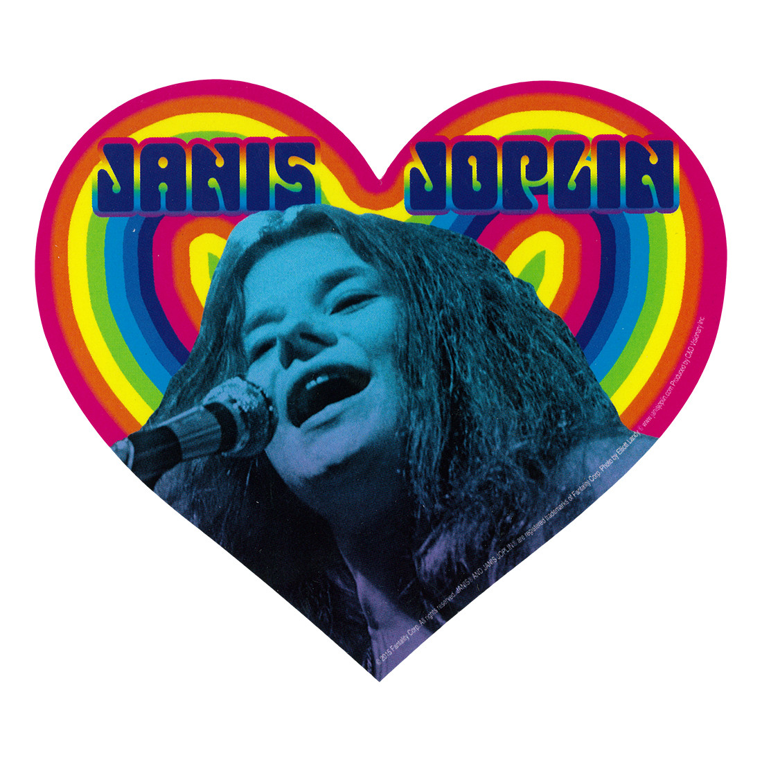 Janis Joplin Rainbow Heart Sticker