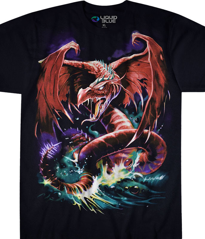 Dark Fantasy Great Wyrm Black T-Shirt Tee Liquid Blue