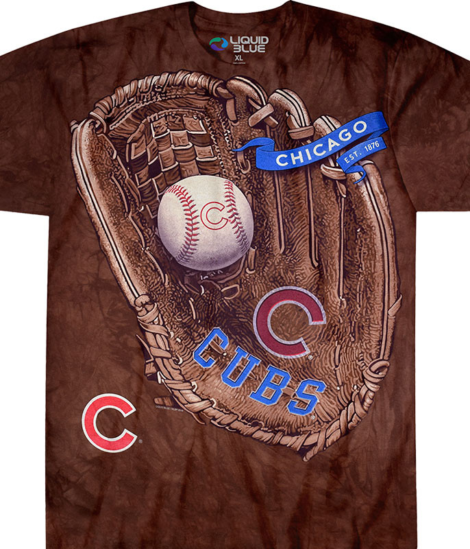 MLB Chicago Cubs Glove Tie-Dye T-Shirt Tee Liquid Blue