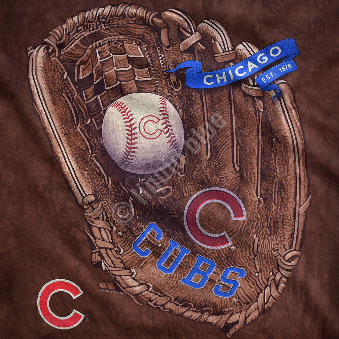 Chicago Cubs Glove Tie-Dye T-Shirt