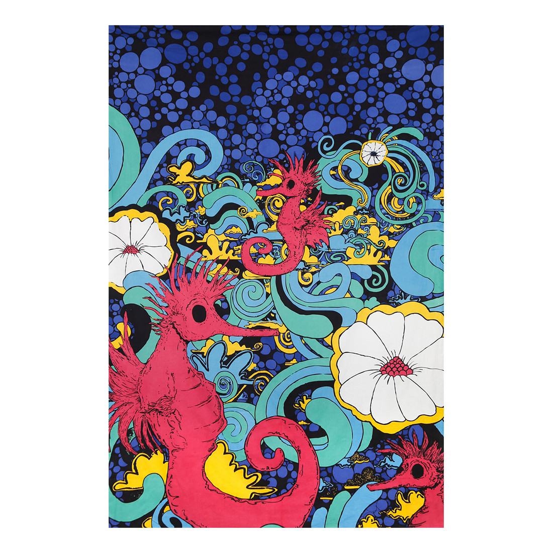 Red Seahorse 3D Tapestry