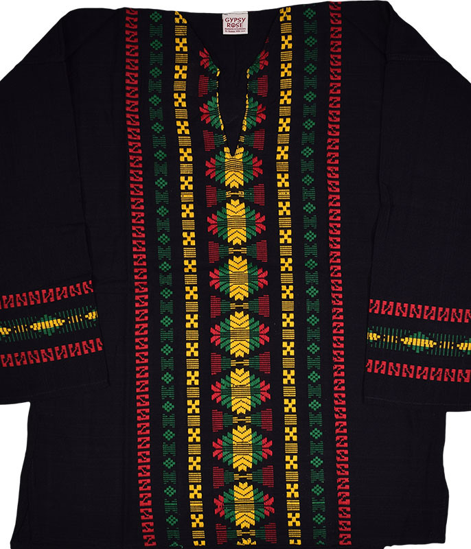 Rasta Guatemalan Long Sleeve Hippie Top