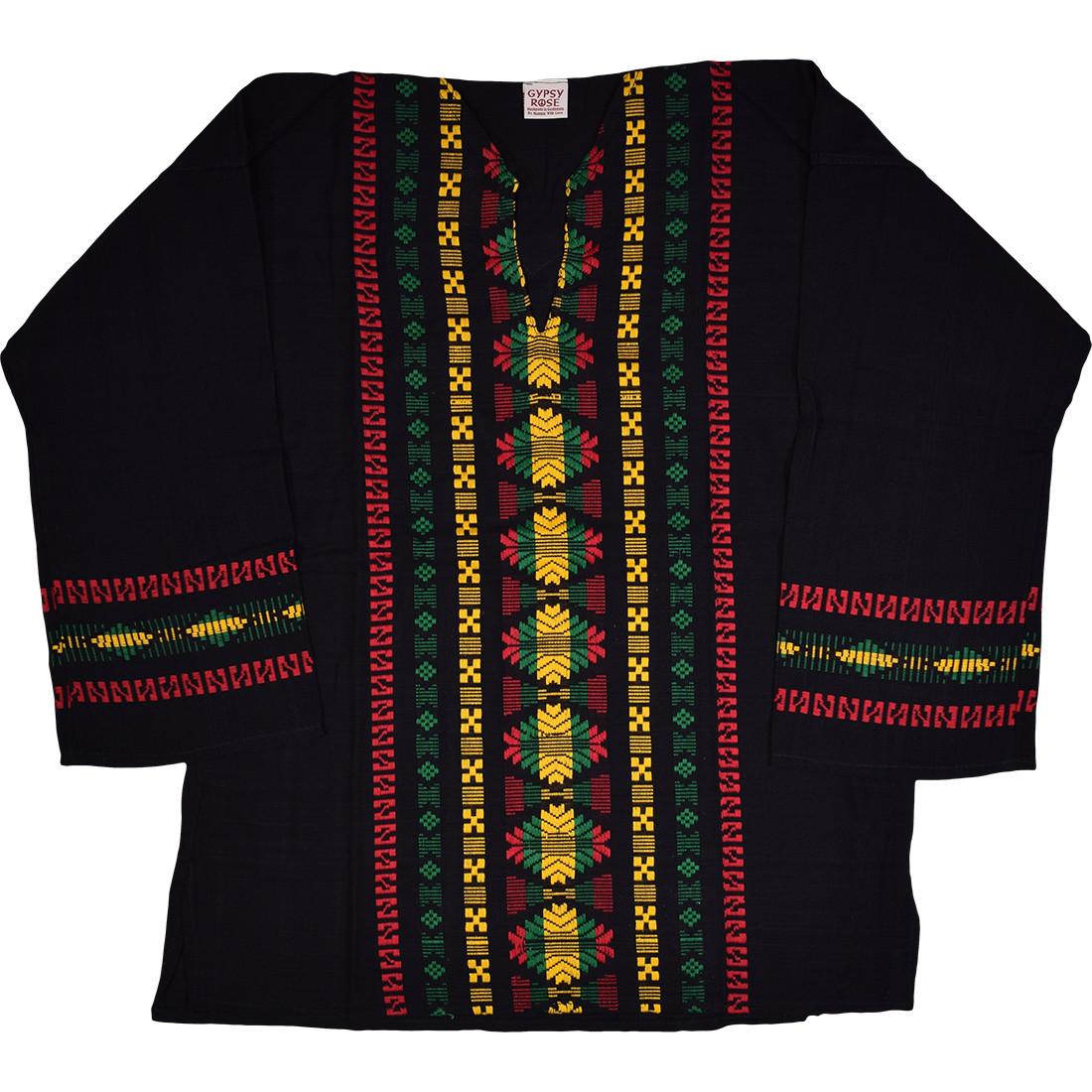 Rasta Guatemalan Long Sleeve Hippie Top
