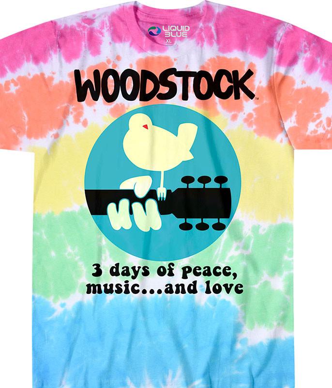 Woodstock Banded Tie-Dye T-Shirt Tee Liquid Blue
