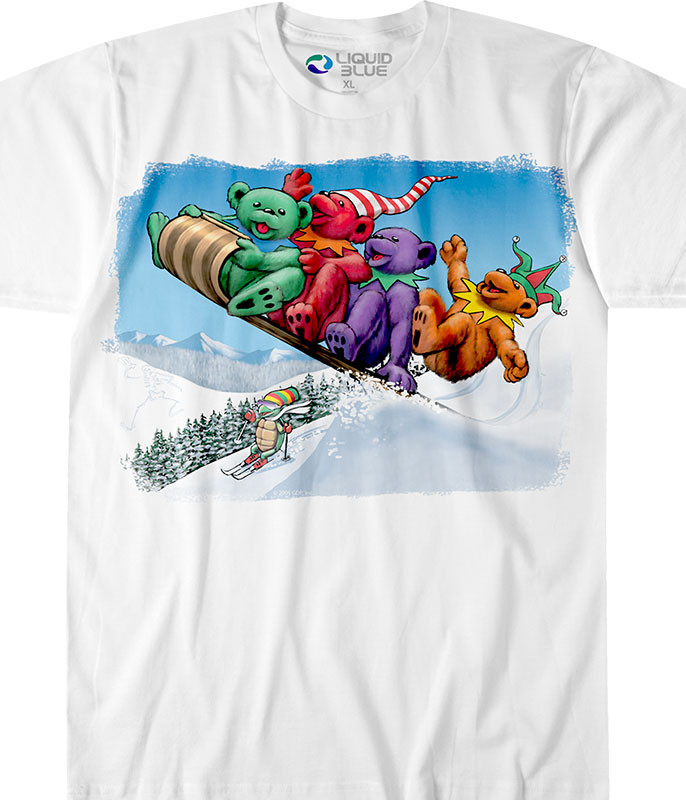 Grateful Dead Toboggan Bears White T-Shirt Tee Tee