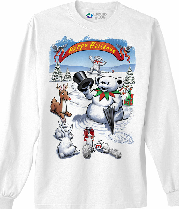 SNOWMAN BEAR WHITE LONG SLEEVE T-SHIRT