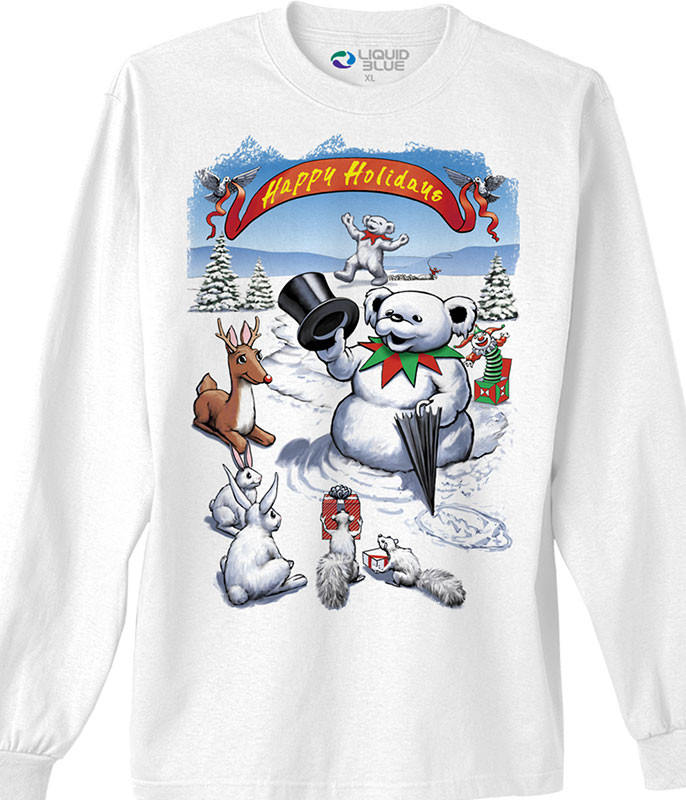 Grateful Dead Snowman Bear White Long Sleeve T-Shirt Tee