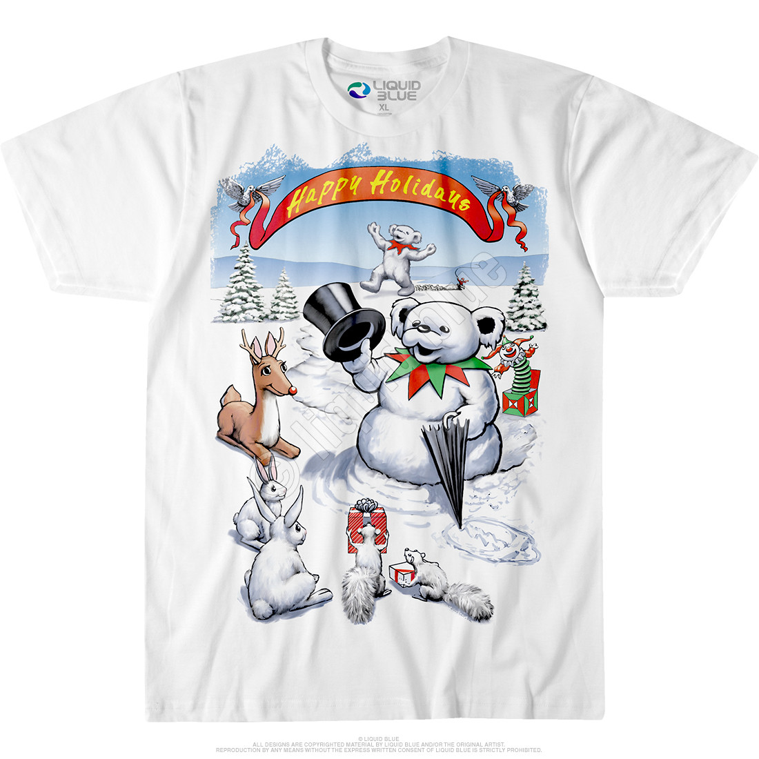Snowman Bear White T-Shirt