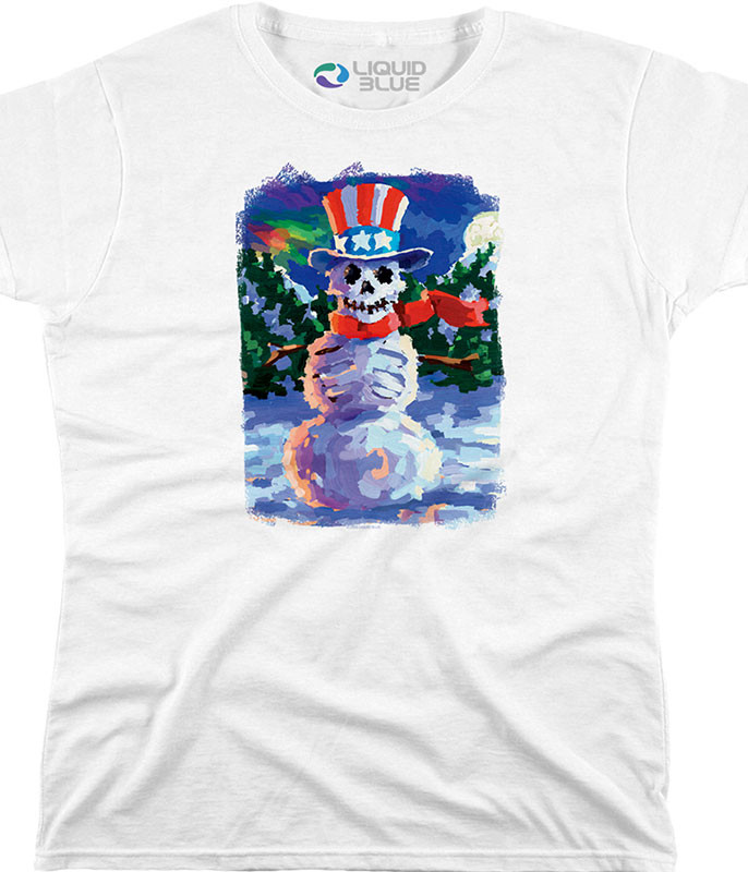 Snowman Skeleton Womens White Long Length T-Shirt