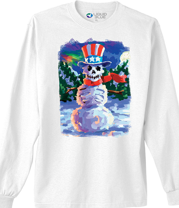 Snowman Skeleton White Long Sleeve T-Shirt Tee
