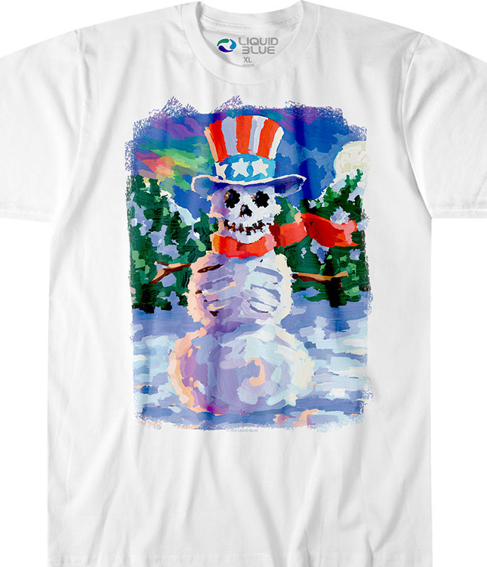 Snowman Skeleton White T-Shirt Tee Tee