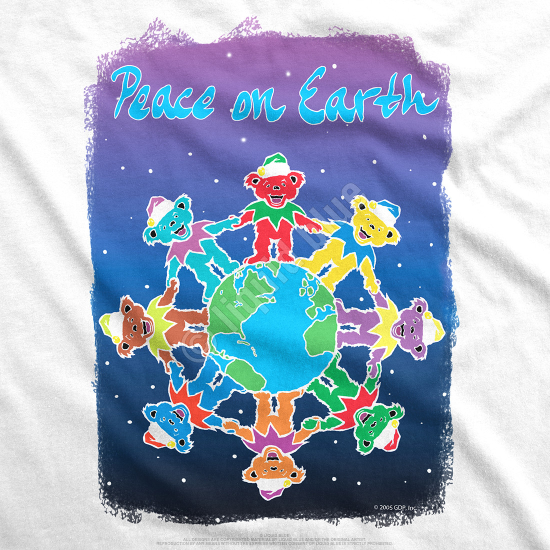 Peace on Earth Womens White Long Length T-Shirt