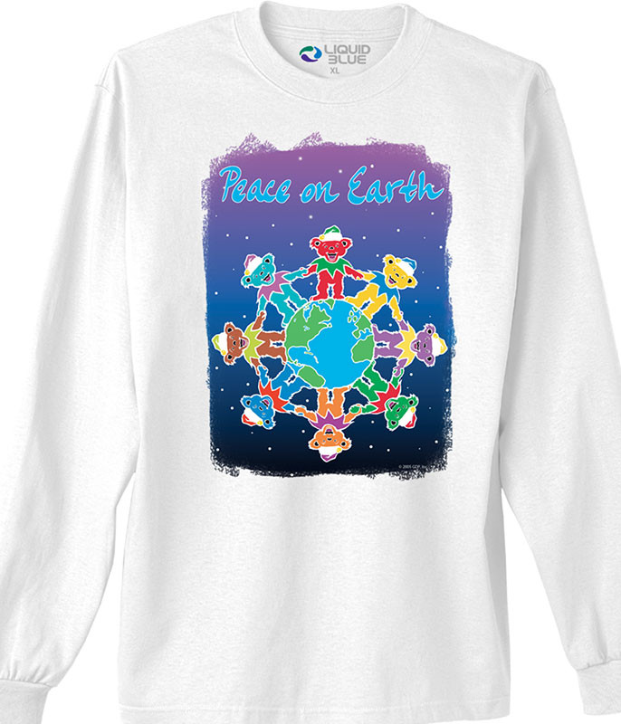 Grateful Dead Peace on Earth White Long Sleeve T-Shirt Tee
