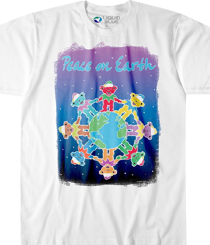 Grateful Dead Peace on Earth White T-Shirt Tee Tee