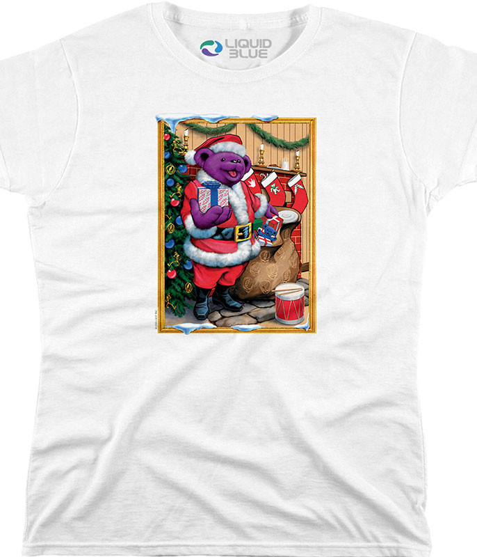 SANTA BEAR WOMENS WHITE LONG LENGTH T-SHIRT