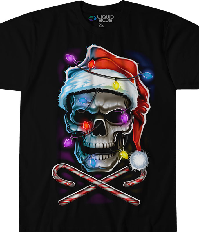Fantasy Skull and Cross Canes Black T-Shirt Tee Liquid Blue
