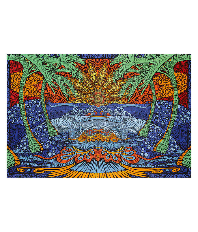 Psychedelic Sunburst 3D Tapestry Liquid Blue