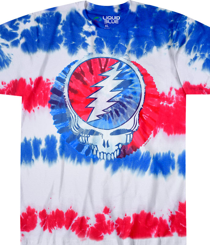 Grateful Dead American SYF Tie-Dye T-Shirt Tee Liquid Blue