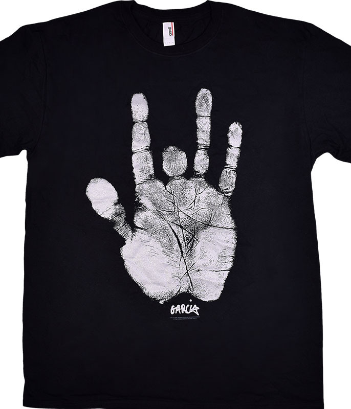Jerry Garcia Handprint Black T-Shirt Tee