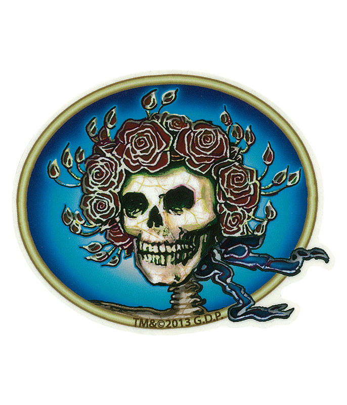 Grateful Dead GD Skull & Roses Mini Sticker