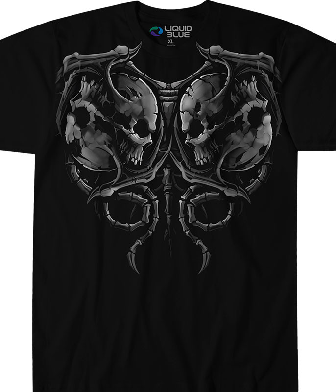 Skulls Demon Faceoff Black T-Shirt Tee Liquid Blue