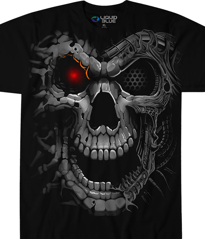 Skulls Robot Skull Black T-Shirt Tee Liquid Blue