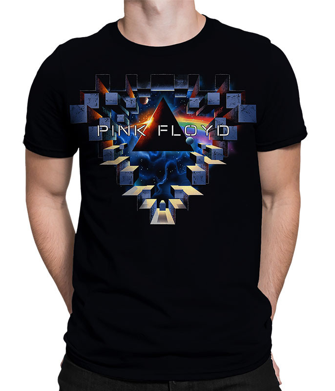Pink Floyd Space Window Black Athletic T-Shirt Tee Liquid Blue