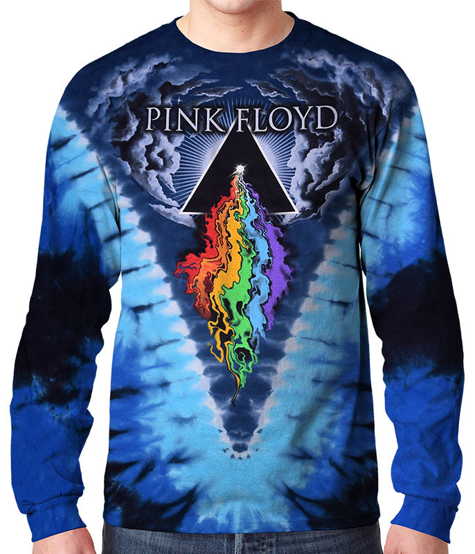 Pink Floyd Prism River Tie-Dye Long Sleeve T-Shirt Tee Liquid Blue