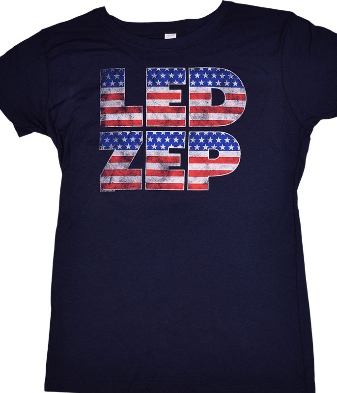 Led Zeppelin Flag Logo Navy Juniors Long Length T-Shirt Tee