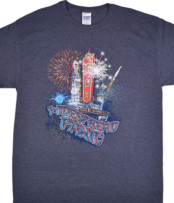 Widespread Panic Fox Theatre New Years Eve Dark Blue Heather T-Shirt Tee