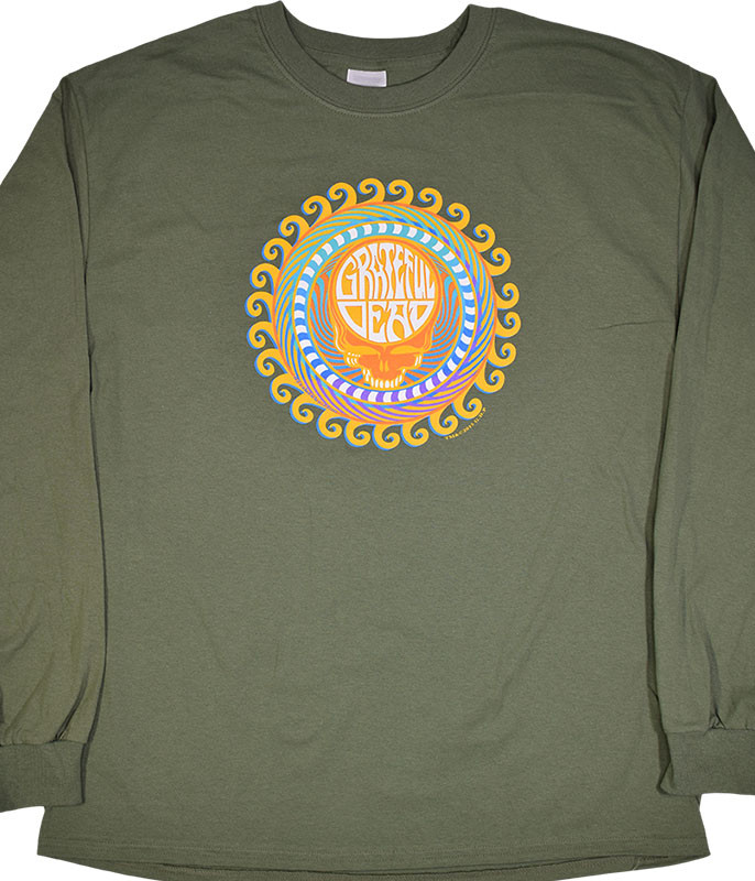 Grateful Dead GD Orange Sunshine Green Long Sleeve T-Shirt Tee