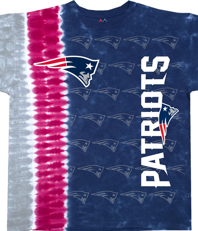 NFL New England Patriots Vertical Tie-Dye T-Shirt Tee Liquid Blue