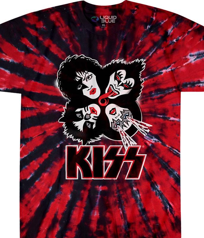 KISS Burst Tie-Dye T-Shirt Tee Liquid Blue