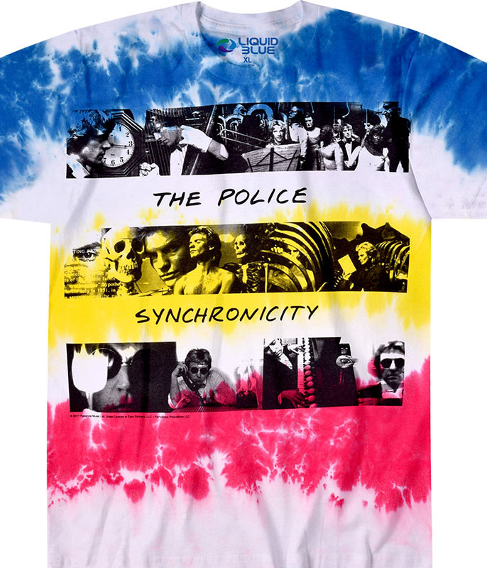 The Police Synchronicity Tie-Dye T-Shirt Tee Liquid Blue