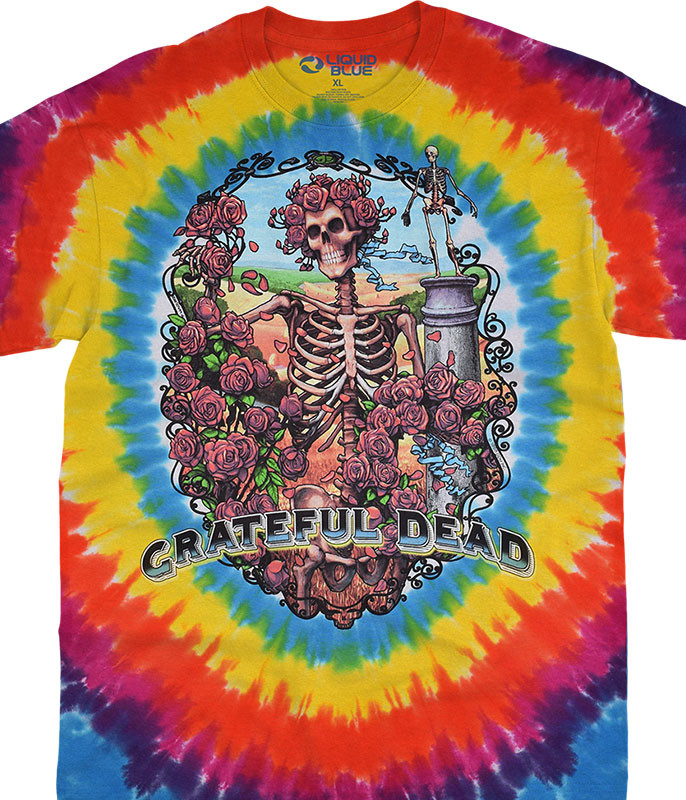 Grateful Dead Rainbow Bertha Tie-Dye T-Shirt Tee Liquid Blue