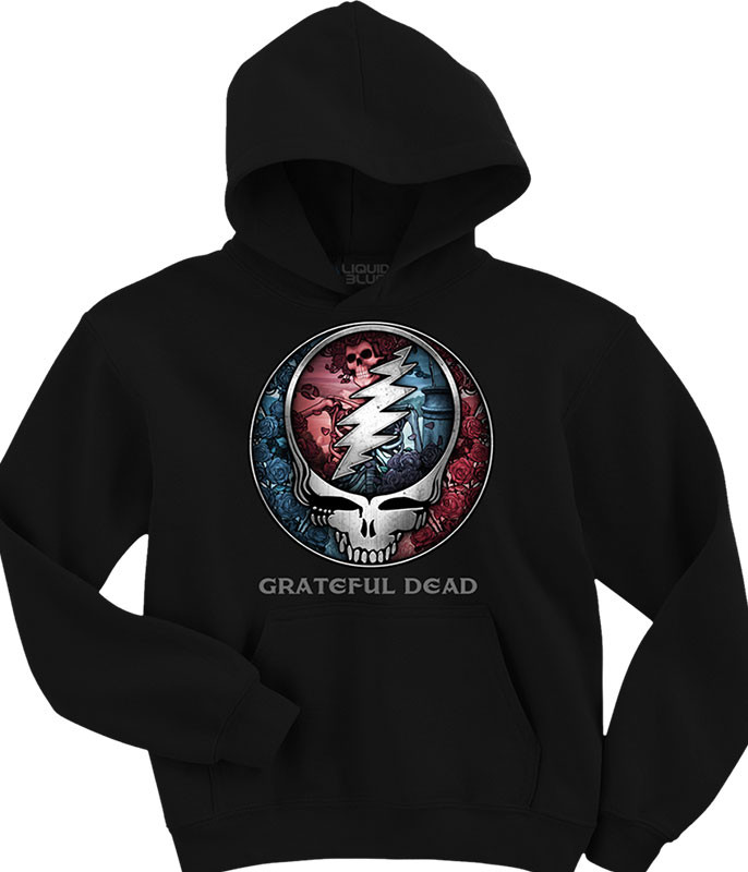 Grateful Dead Bertha SYF Black Hoodie Liquid Blue