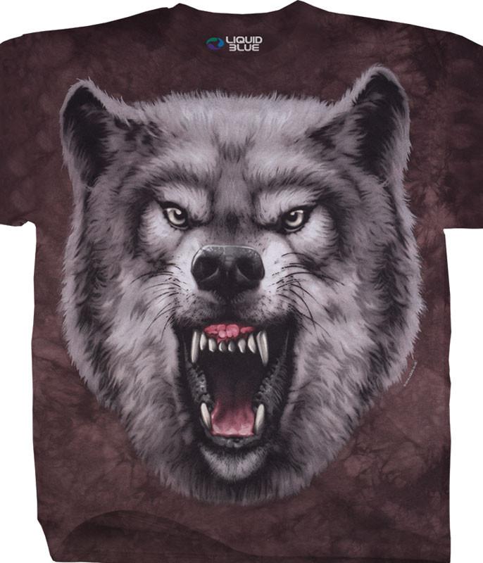 American Wildlife Roaring Wolf Tie-Dye T-Shirt Tee Liquid Blue