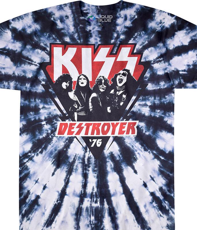 KISS Destroyer '76 Tie-Dye T-Shirt Tee Liquid Blue