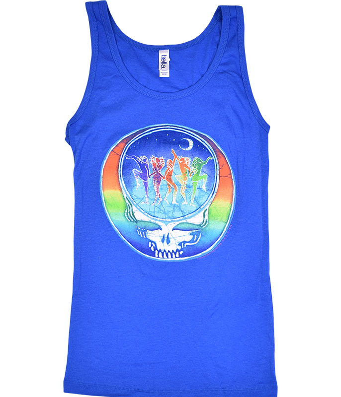 Grateful Dead GD Dancing Face Blue Juniors Tank Top T-Shirt Tee