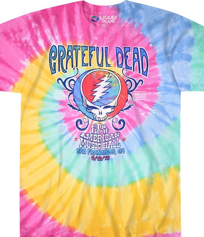 Grateful Dead American Music Hall Spiral Tie-Dye T-Shirt Tee Liquid Blue