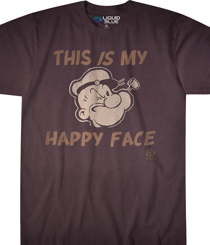 Popeye My Happy Face Brown T-Shirt Tee Liquid Blue