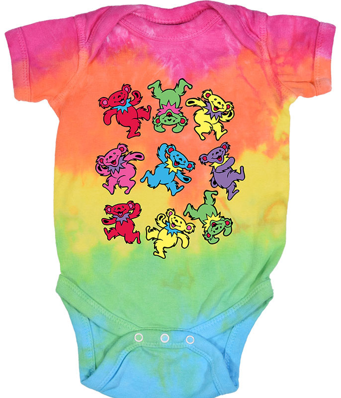 Grateful Dead Spiral Bears Tie-Dye Onesie Liquid Blue