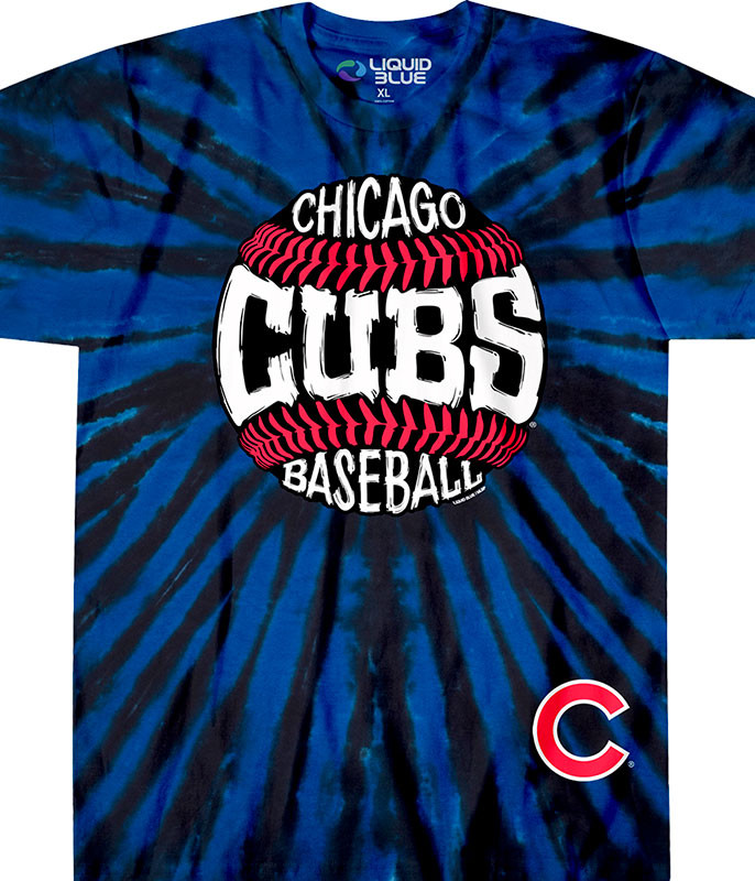 MLB Chicago Cubs Burst Tie-Dye T-Shirt Tee Liquid Blue a7cf4df187e8