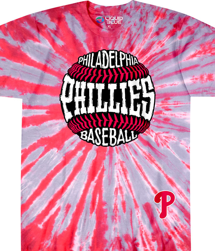 MLB Philadelphia Phillies Burst Tie-Dye T-Shirt Tee Liquid Blue