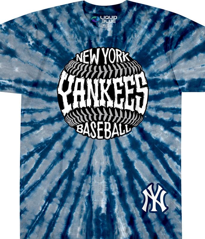 MLB New York Yankees Burst Tie-Dye T-Shirt Tee Liquid Blue