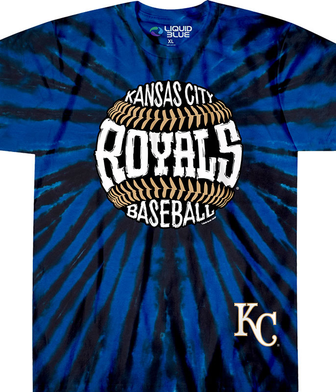 MLB Kansas City Royals Burst Tie-Dye T-Shirt Tee Liquid Blue